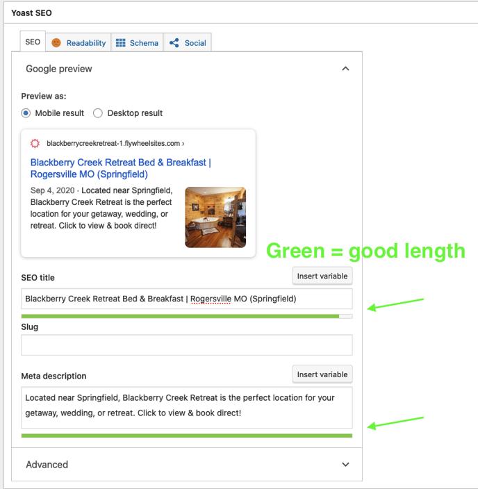 basic optimized home page title and description